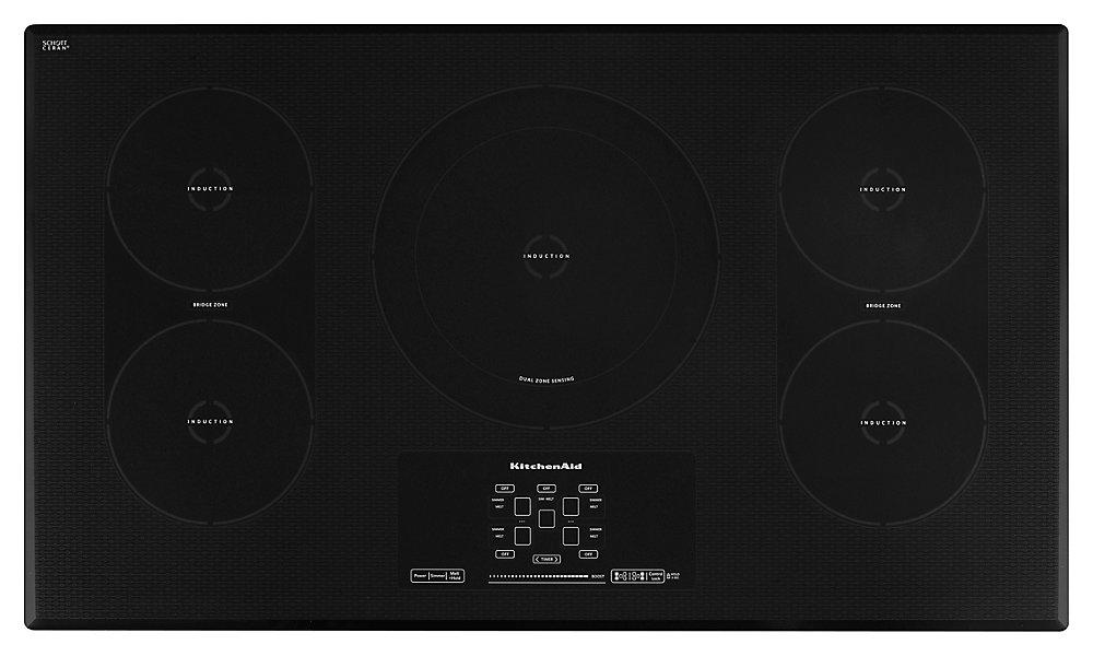 Plan de cuisson à induction à surface lisse de 36 po de la série II Architect en noir avec 5 éléments dont un pont et deux éléments.
