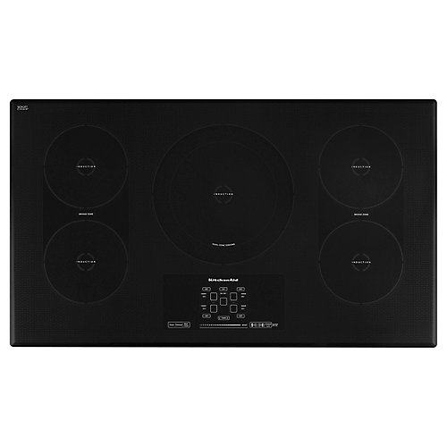 Architect Series II 36-inch Smooth Surface Induction Cooktop in Black with 5 Elements including Bridge and Dual Elements