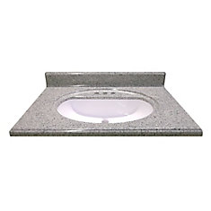 31-Inch W x 22-Inch D Cultured Granite Vanity Top in Luna Moonscape with Recessed Bowl
