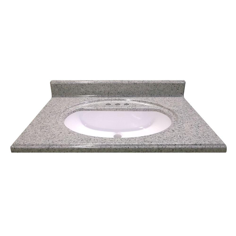 Comptoir en pierre de lune Luna avec lavabo encastré de 78,74 cm [31 po] L x 55,88 cm [22 po] P
