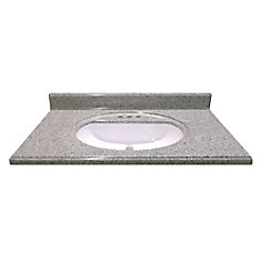 37-Inch W x 22-Inch D Cultured Granite Vanity Top in Luna Moonscape with Recessed Bowl