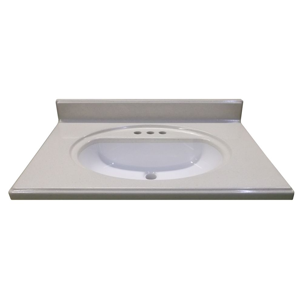 31-Inch W x 22-Inch D Vanity Top in Luna Snowdrift with Recessed Bowl