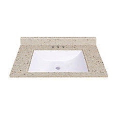 31-Inch W x 22-Inch D Vanity Top in Dune with Wave Bowl