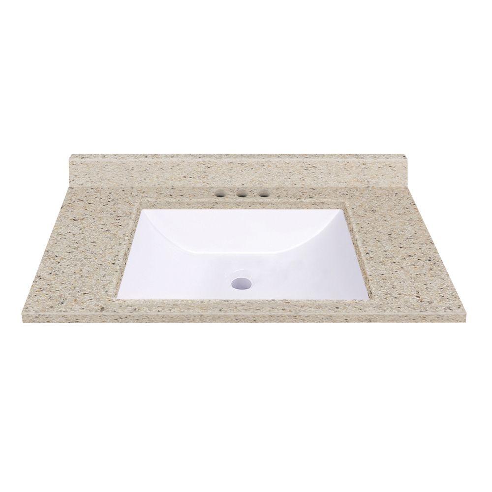 Comptoir en dune avec lavabo rectangulaire à fond incurvé de 93,98 cm [37po] L x 55,88 cm [22po] ...