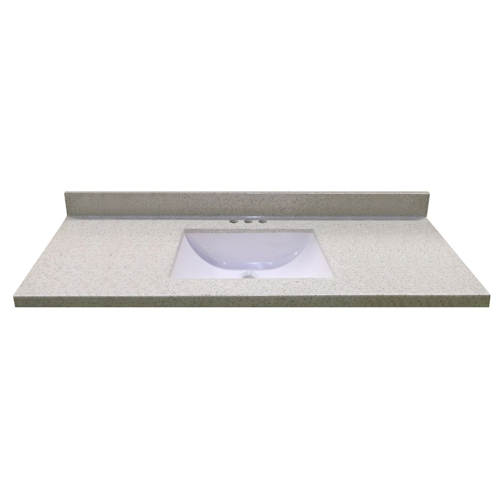 49-Inch W x 22-Inch D Vanity Top in Dune with Wave Bowl