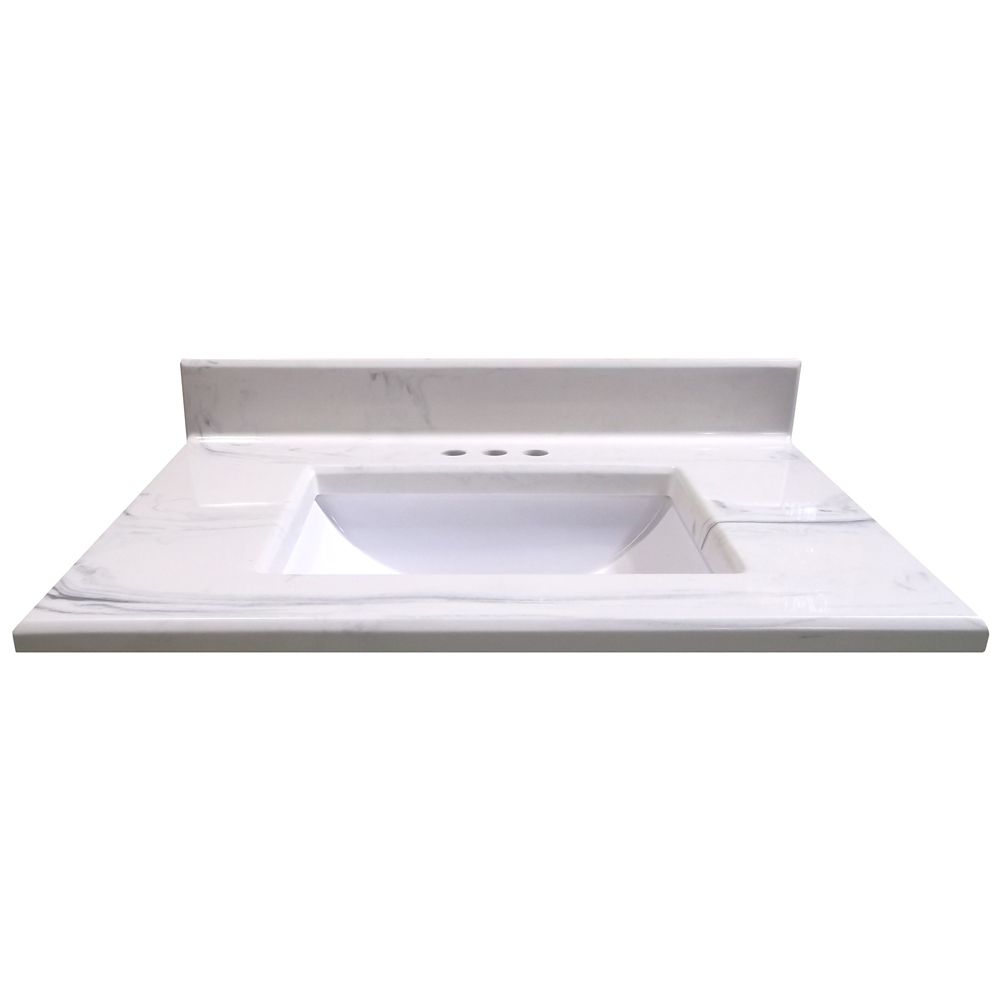 31-Inch W x 22-Inch D Montreal Italian Marble Vanity Top in White