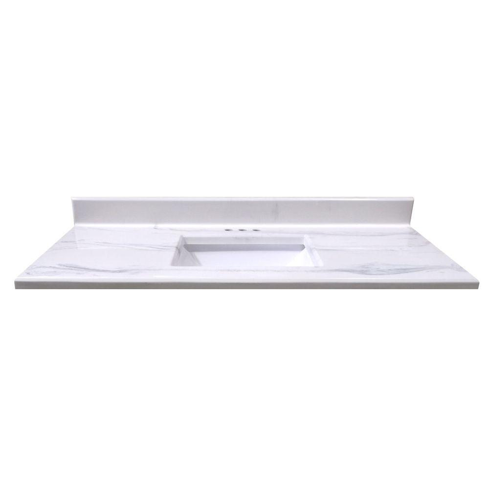 Comptoir blanc italien Montréal - lavabo rectangulaire à fond incurvé - 1,24 m[49po]Lx55,8cm[22po...