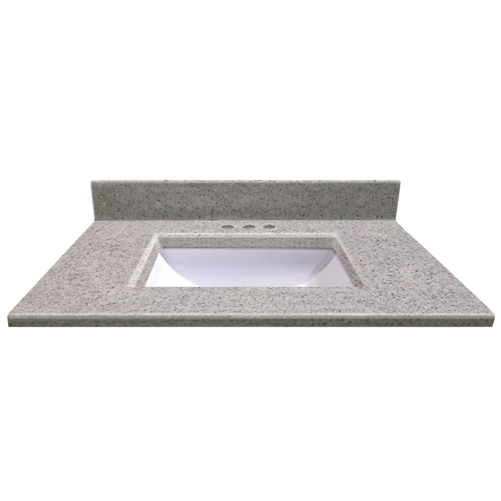 31 In. W x 22 In. D Montreal Moonscape Vanity Top with Undermount Wave Bowl 15173 Canada Discount
