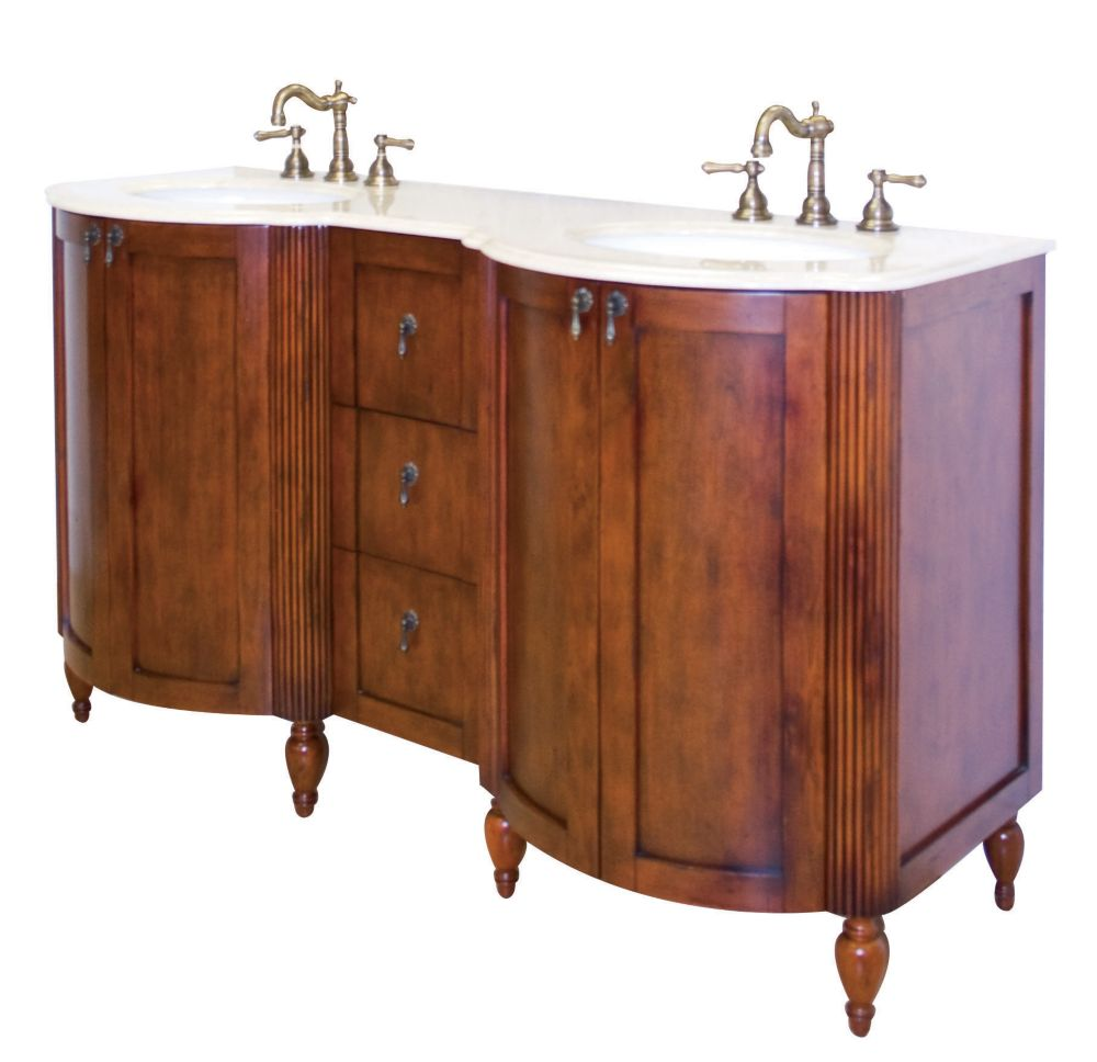 Milano 59-inch W Vanity Base in Antique Cherry