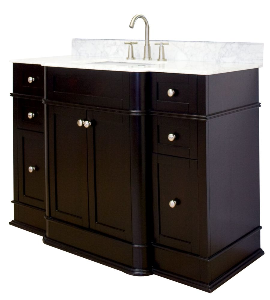 49 In. W x 21 In. D Traditional Birch Wood-Veneer base de meuble-lavabo Only in Dark Mahogany AI-101-75 Canada Discount