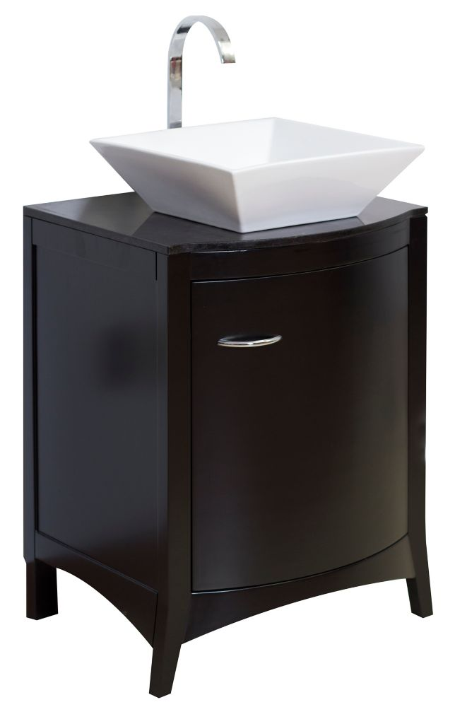 22 In. W x 20 In. D Traditional Birch Wood-Veneer Vanity Set in Matte Black AI-4-1172 Canada Discount