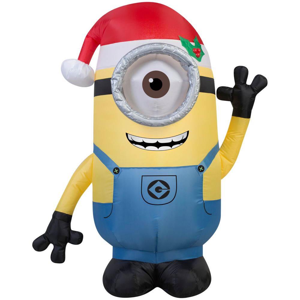 Gemmy Industries Airblown - Minion Stuart avec chapeau de père Noël