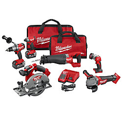 Milwaukee Tool M18 FUEL 18V Lithium-Ion Brushless Cordless Combo Kit (6-Tool) W/ (2) Batteries & (2) Tool Bags