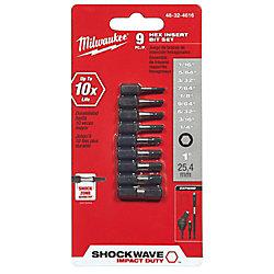 Milwaukee Tool Shockwave 9Pc Impact Hex Insert Bit Set