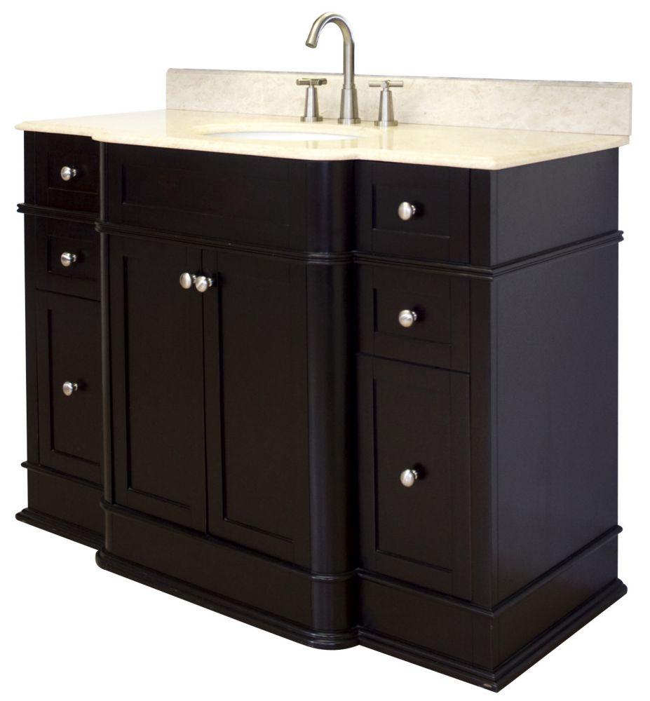 Granicus 50-inch W Vanity Set in Dark Mahogany Finish