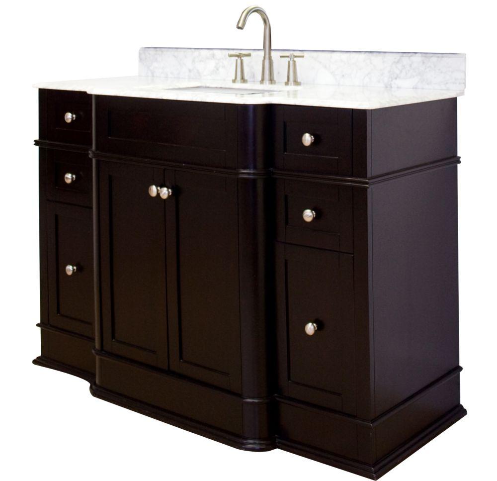 50 po. larg. x 22 po. prof. Traditionnelle birch wood-placage vanity set en dark fini acajou