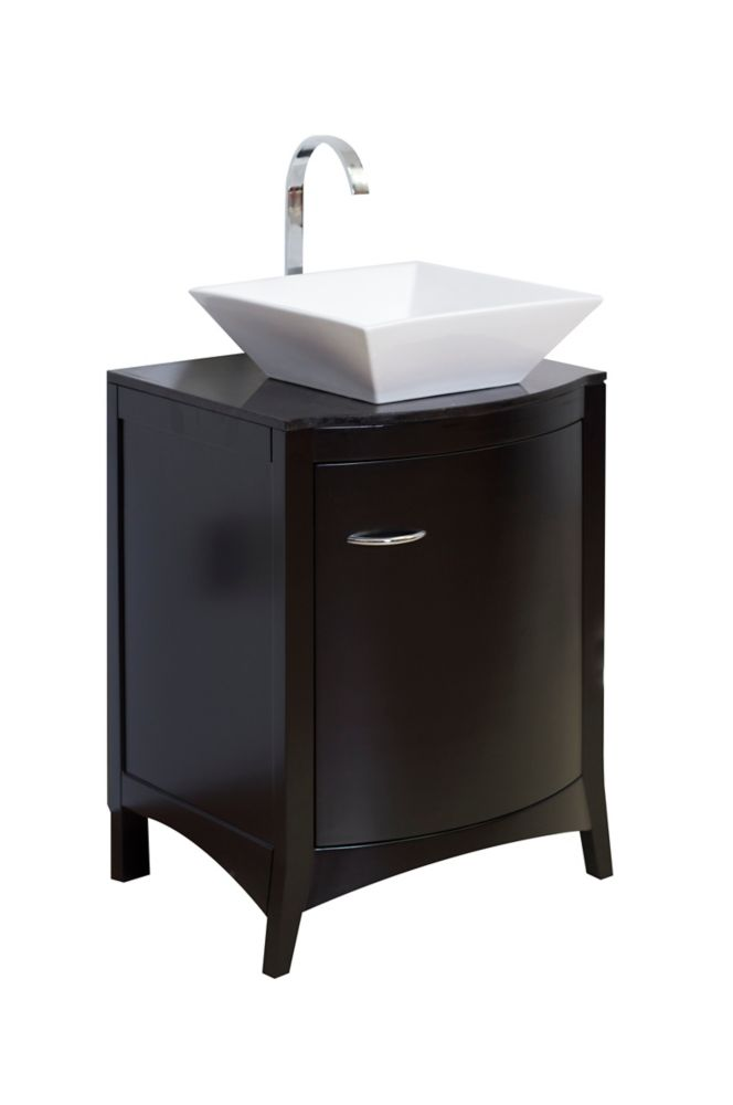 22 In. W x 20 In. D Traditional Birch Wood-Veneer base de meuble-lavabo Only in Matte Black AI-4-1164 in Canada