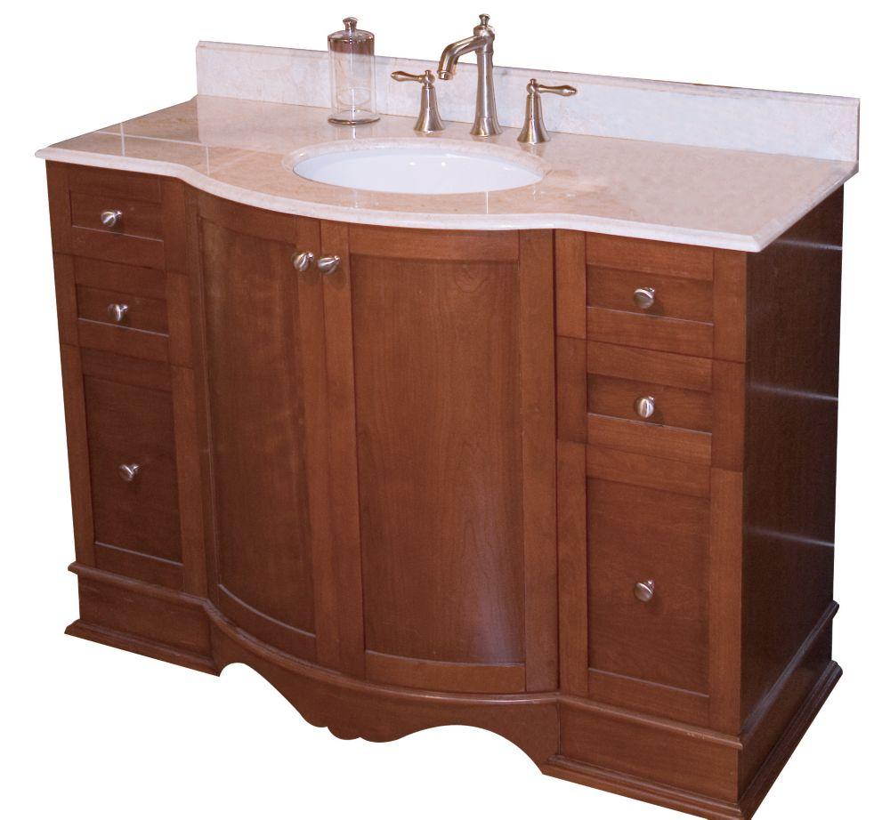 47 po. larg. x 22 po. prof. Traditionnelle birch wood-placage base de meuble-lavabo seulement à ...