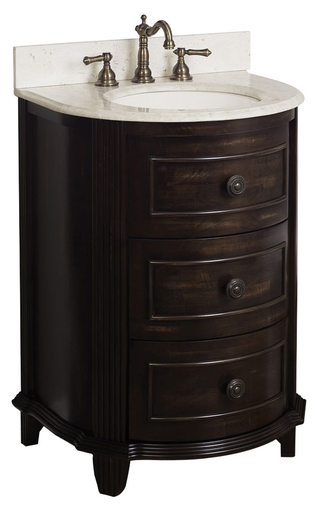American Imaginations 24-Inch  W by 21-Inch  D Vanity Cabinet in Distressed Antique Walnut