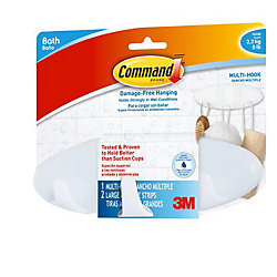 Command Multi-Hook with Water-Resistant Strips, BATH21-EF, frosted