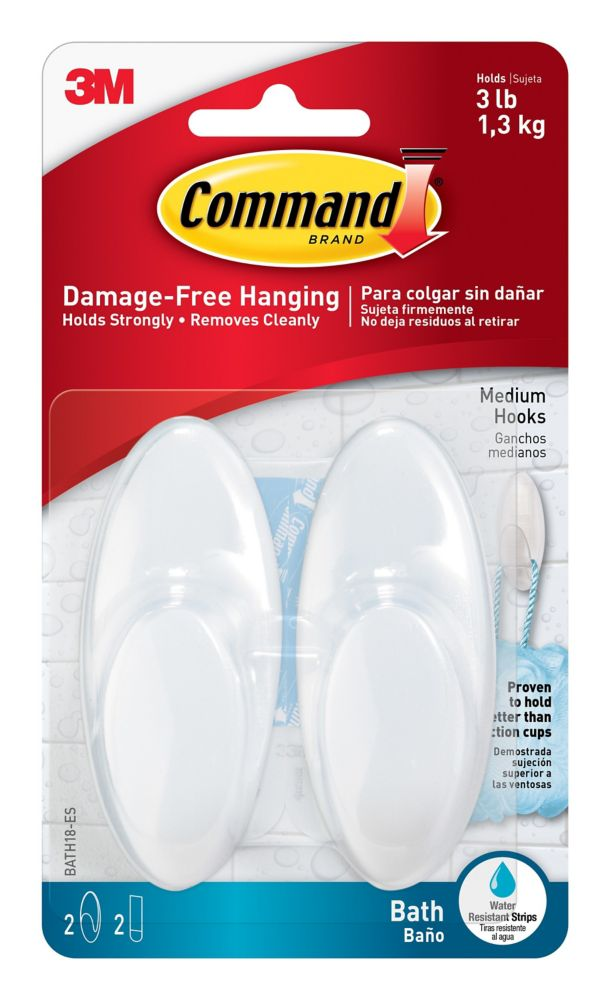 Medium Bath Hooks with Water-Resistant Strips, BATH18-EF, frosted
