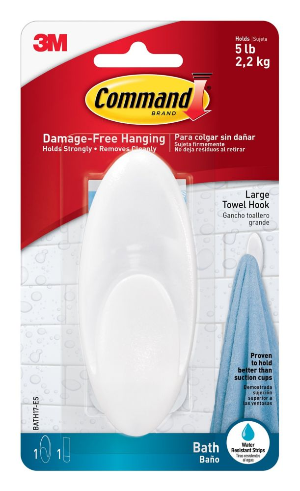 Command Large Towel Hook with Water-Resistant Strips, BATH17-EF, frosted