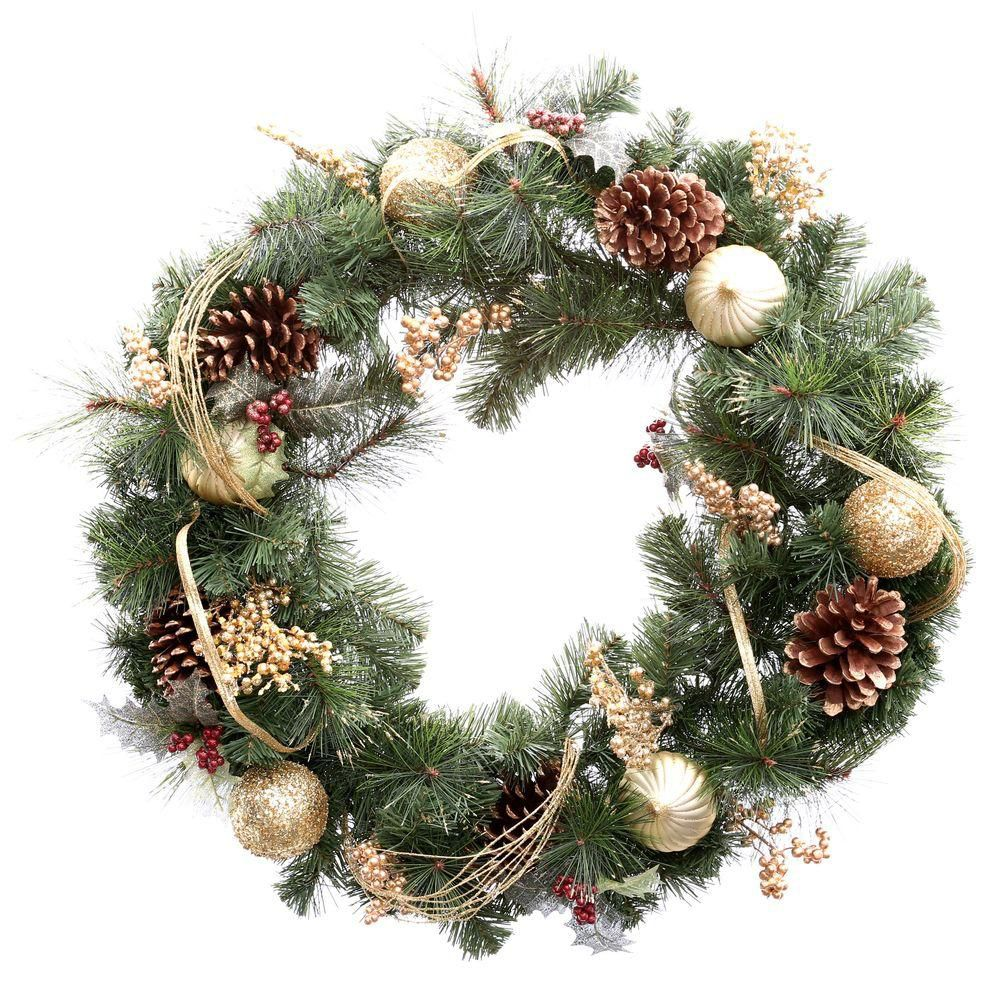 MSL 30 Inch Wreath With Gold Ornament