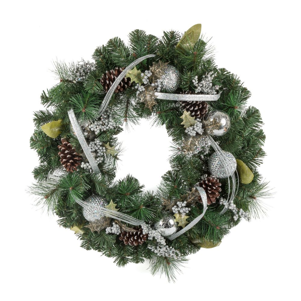 30 Inch PVC Wreath With Silver Ornament