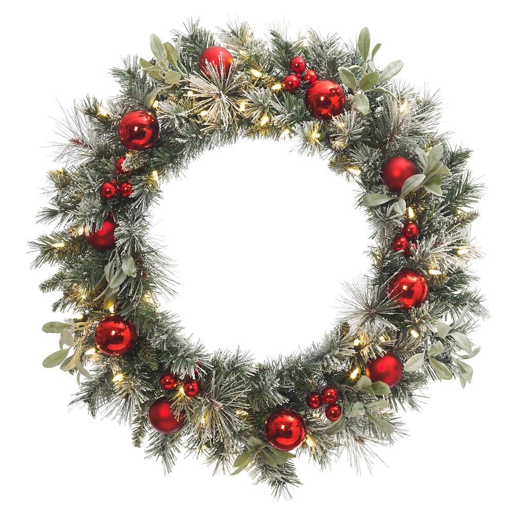 MSL 30 Inch Prelit Snowy Wreath