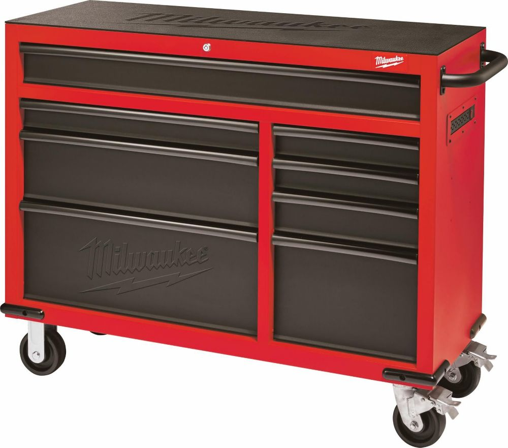 46 Inch 8 Drawer Roller Cabinet Tool Chest In Red And Black
