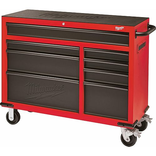 Milwaukee Tool 46-inch 8-Drawer Tool Storage Roller Cabinet in Red and Black