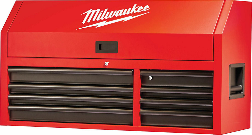 46 Inch 8 Drawer Steel Tool Storage Chest In Red And Black