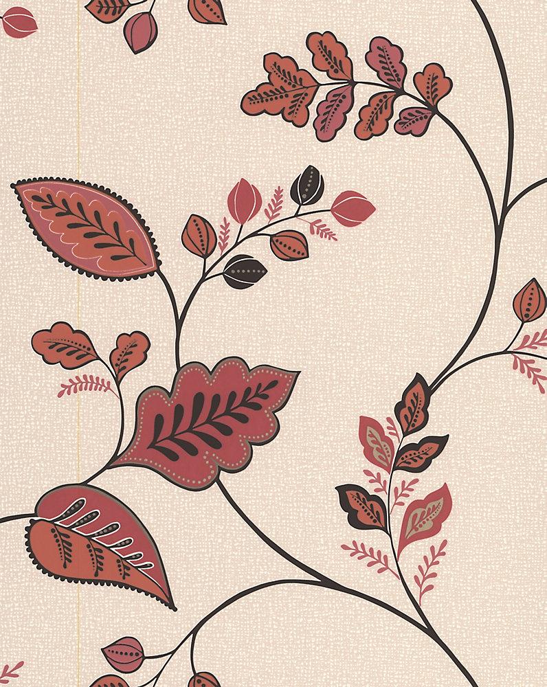 Enjoyable Folklore Burnt Orange Wallpaper Sample Interior Design Ideas Skatsoteloinfo