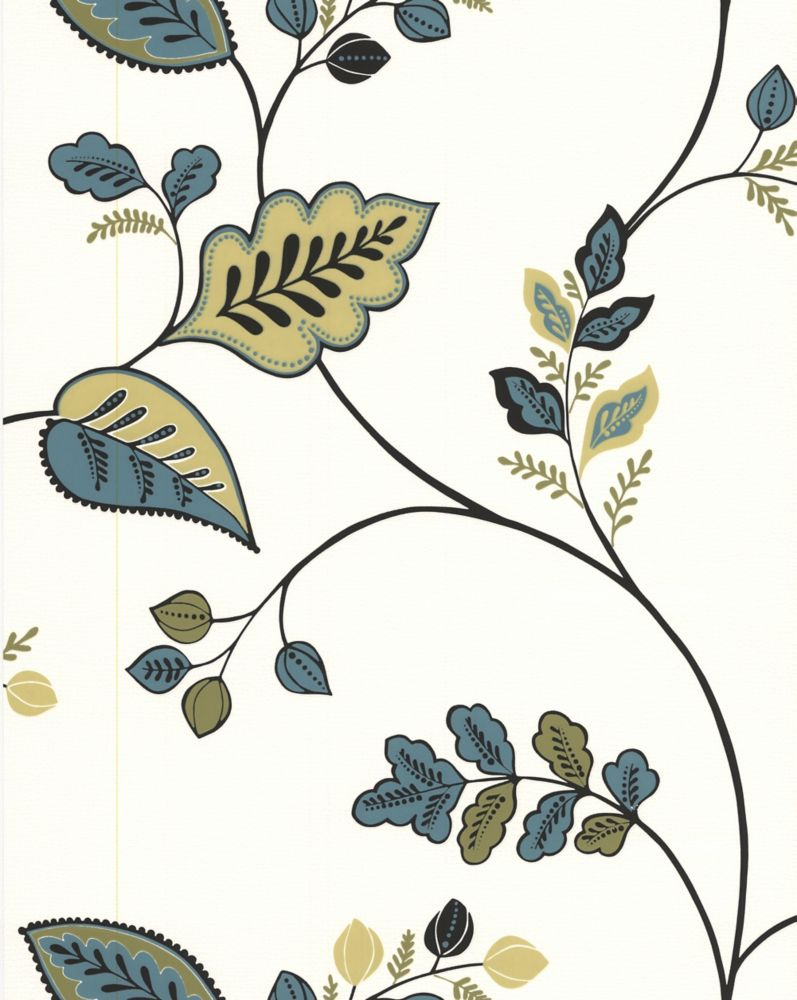 Folklore Green And Teal Wallpaper Sample