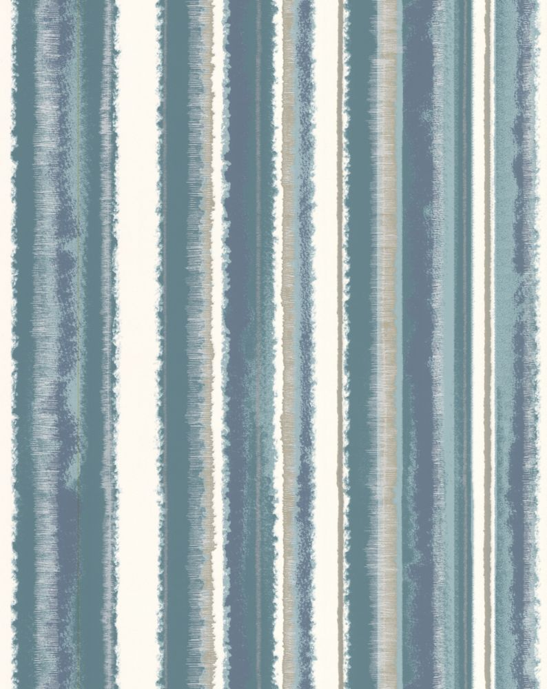 Romany Stripe Teal Wallpaper Sample