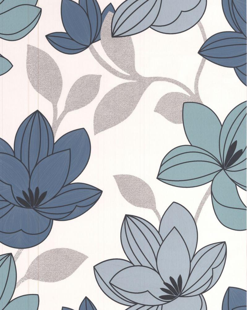 Superflora Blue Wallpaper Sample