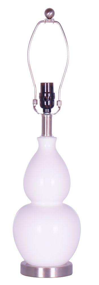 Socle de lampe dappoint blanc en forme de gourde avec détails en acier brossé