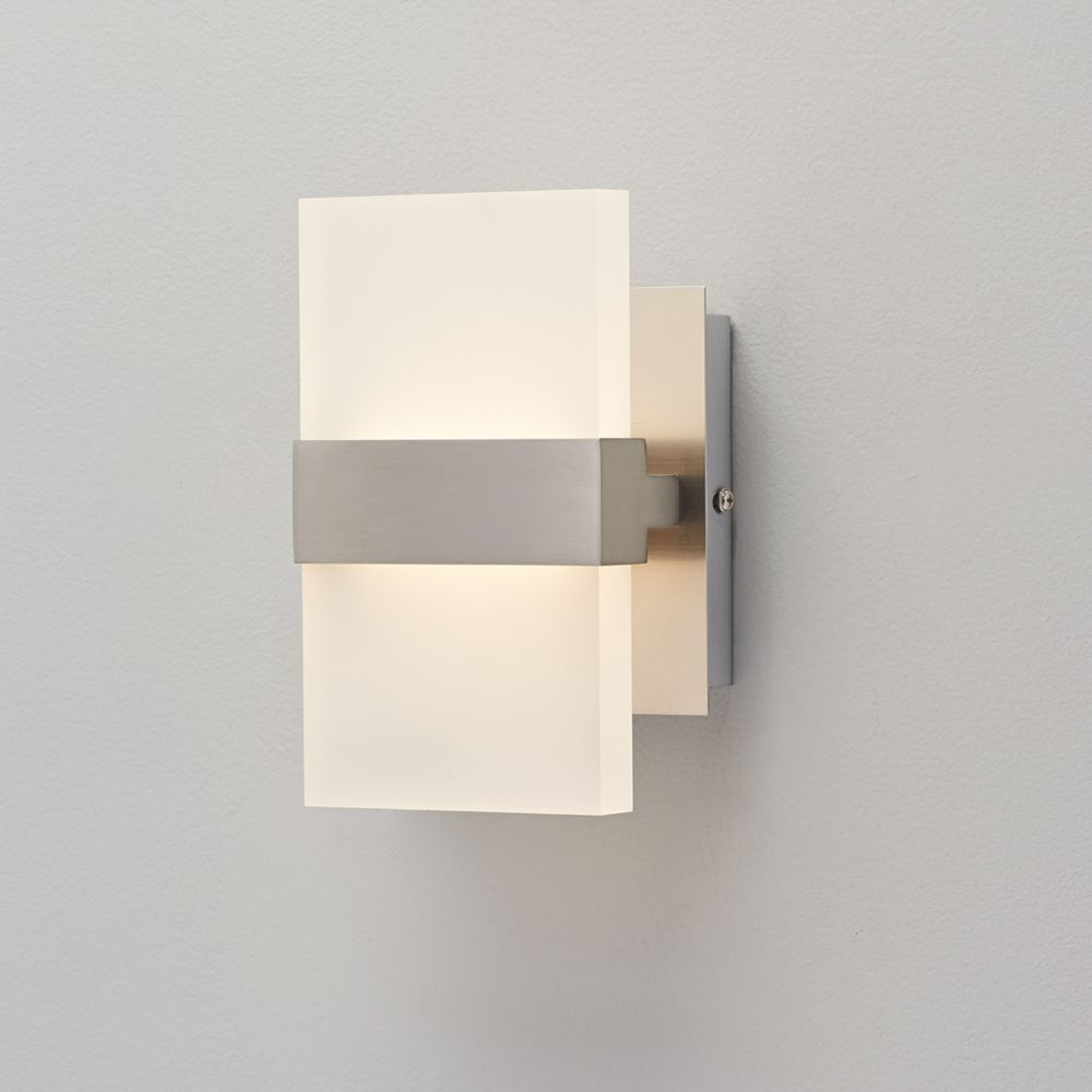 collection 2 light brushed nickel wall sconce the home depot canada. Black Bedroom Furniture Sets. Home Design Ideas