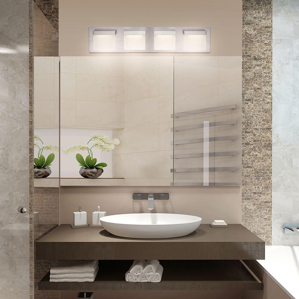 Home Decorators Collection 4-Light Brushed Nickel LED Vanity Light