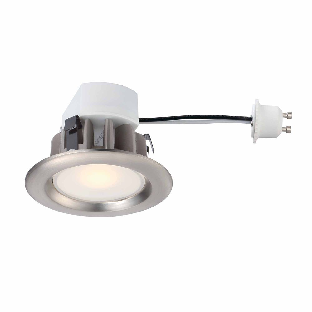 Recessed LED Brushed Nickel Retrofit Trim GU10 Adaptor - 3 Inch