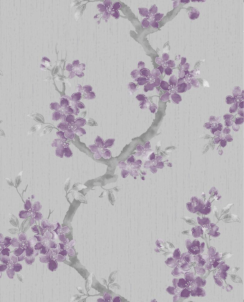 Mercutio Plum And Grey Wallpaper Sample 32-26994 Canada Discount