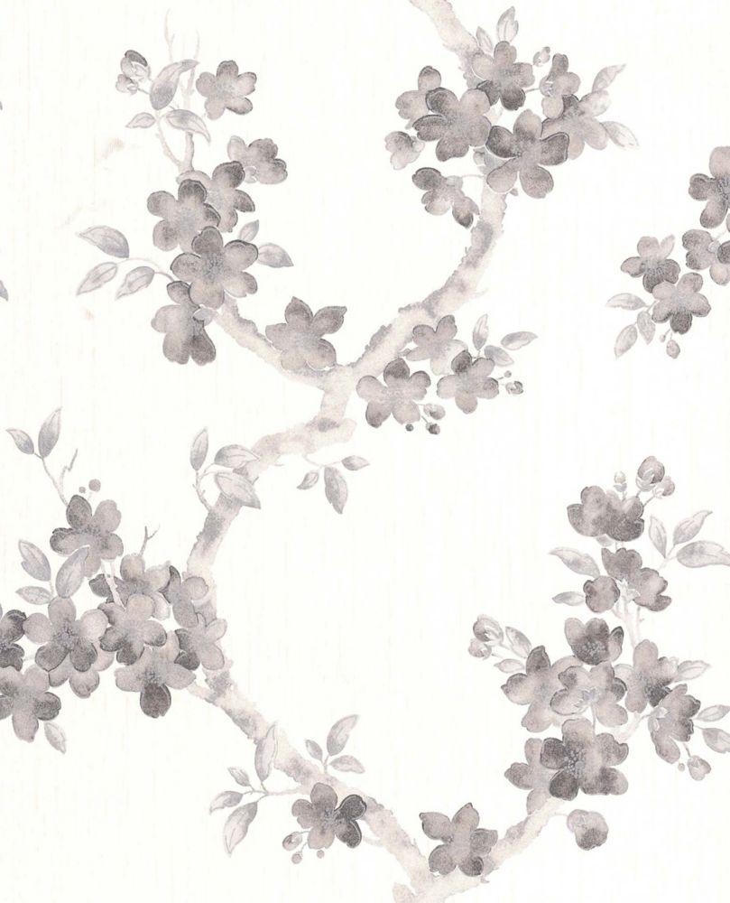 Mercutio Papier Peint Noir, Blanc - échantillon