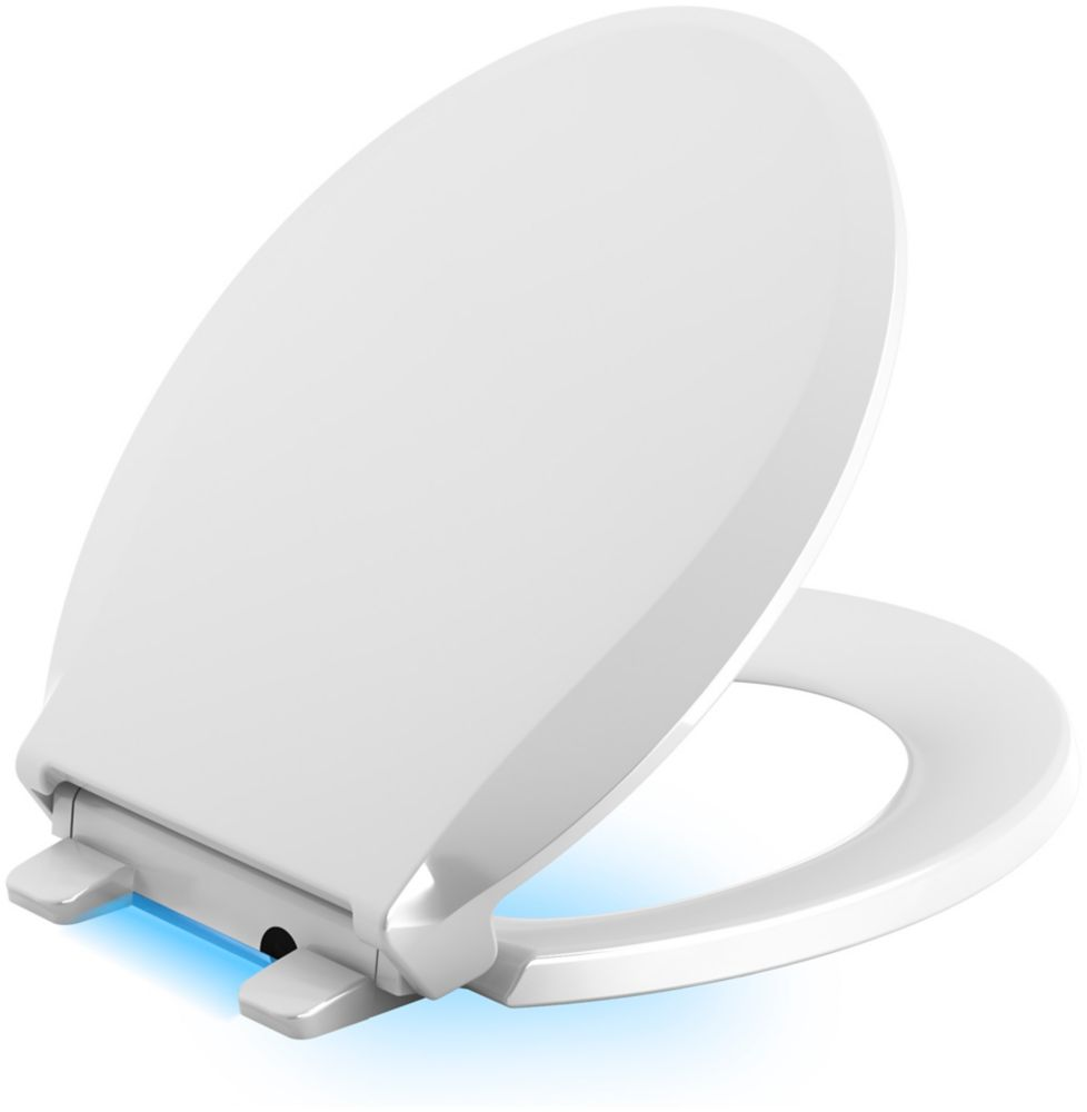 Cachet Quiet-Close Round Closed Front Toilet Seat in White with LED Nightlight