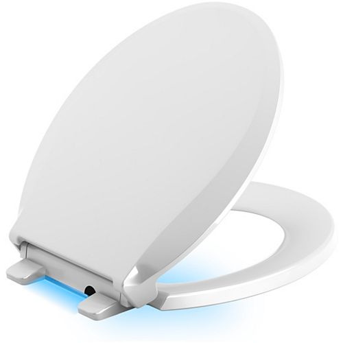 KOHLER Cachet Quiet-Close Round Closed Front Toilet Seat in White with LED Nightlight