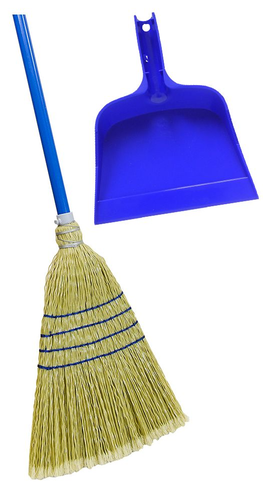 Quickie Poly Corn Broom With Bonus Blue Dust Pan The