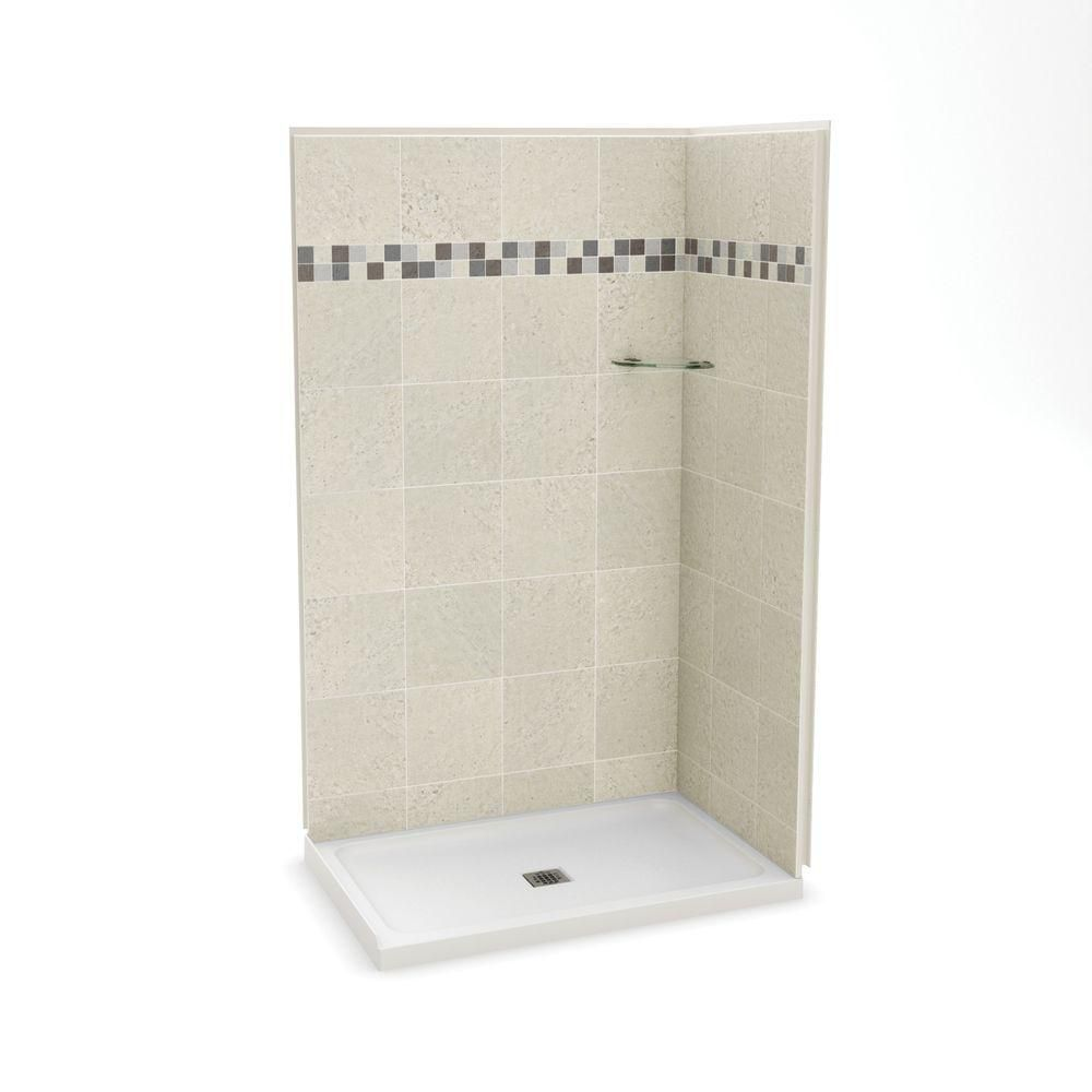 MAAX Utile 32 Inch X 48 Inch Corner Shower Stall In Stone Sahara The Home D