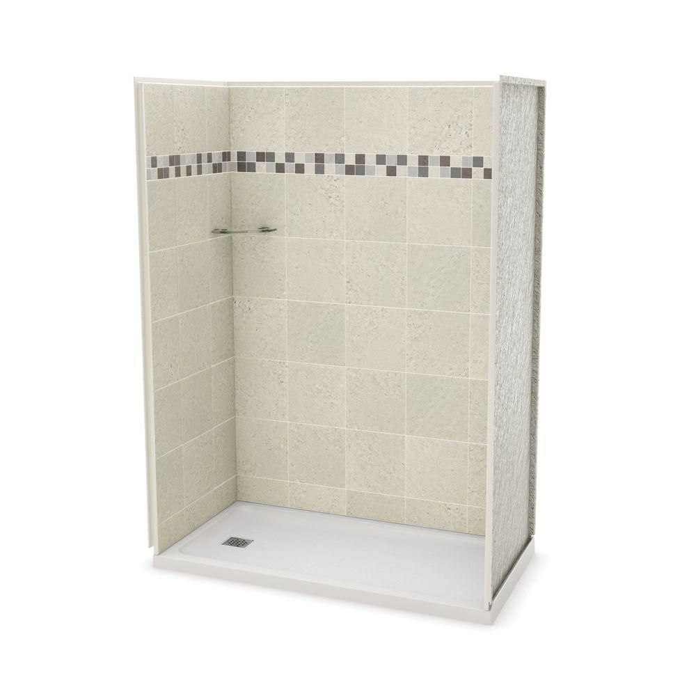 Utile 32-Inch  x 60-Inch  Alcove Shower Stall in Stone Sahara