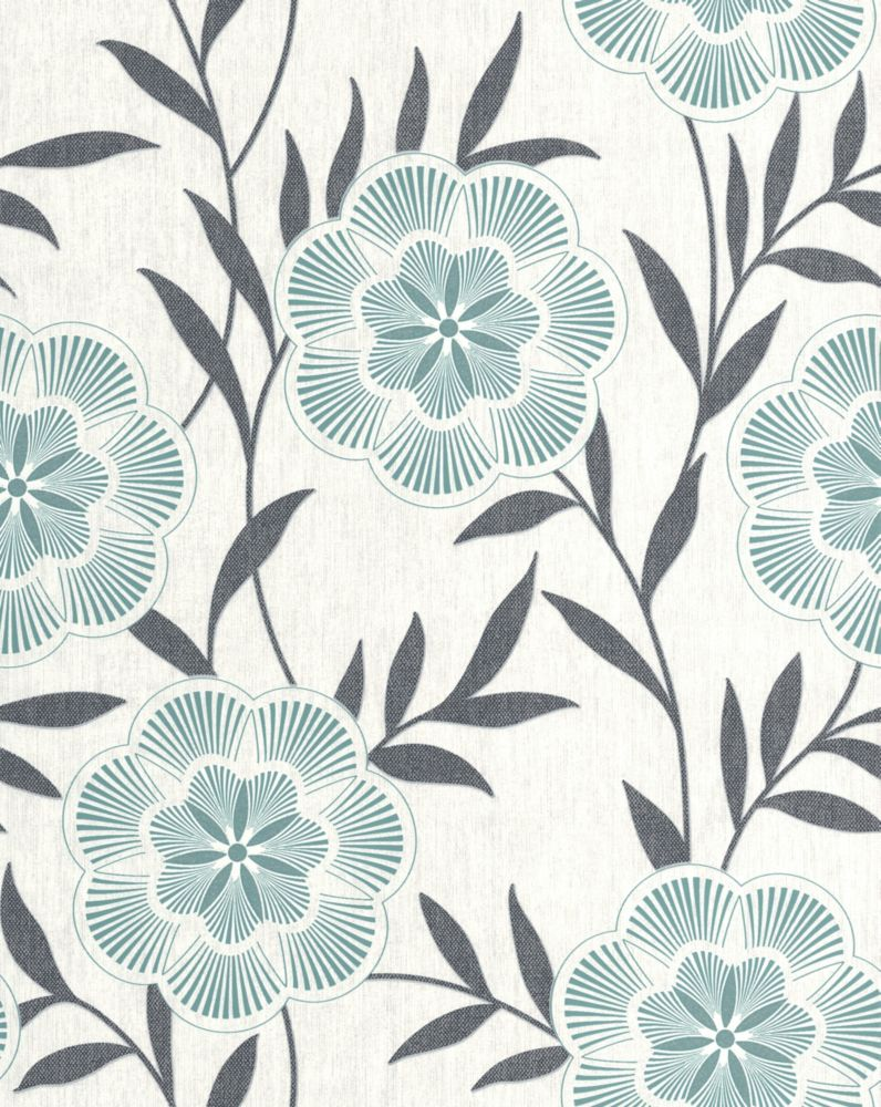 Flora Teal Wallpaper Sample