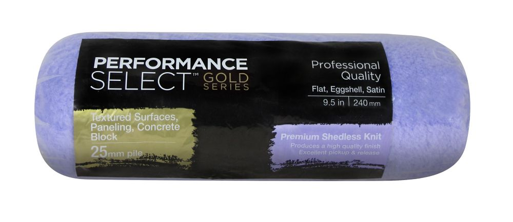 Performance Select Gold 240mm Shedless Knit Roller Cover - 25mm (1 Inch) pile