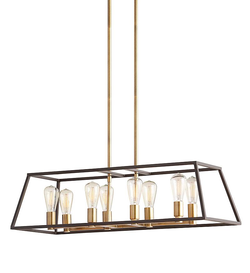 Luminaire suspendu, doré, 8ampoules, 60W, abat-jour à structure métallique bronze foncé